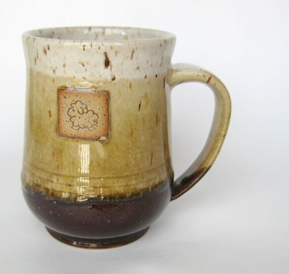 Sheep mug in speckled oatmeal, honey and brown - DISCOUNTED