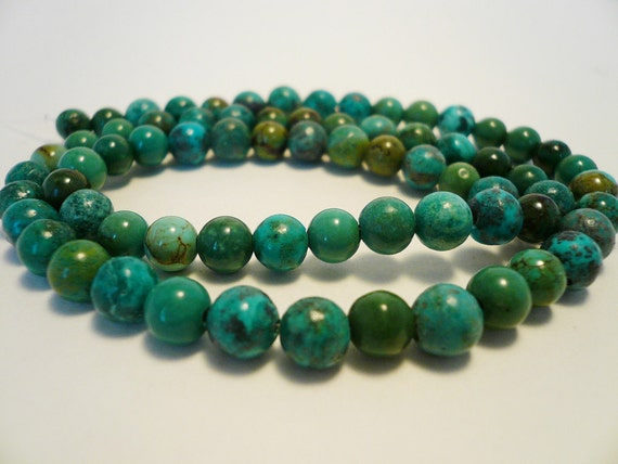 5-6mm round turquoise bead 16 inch strand