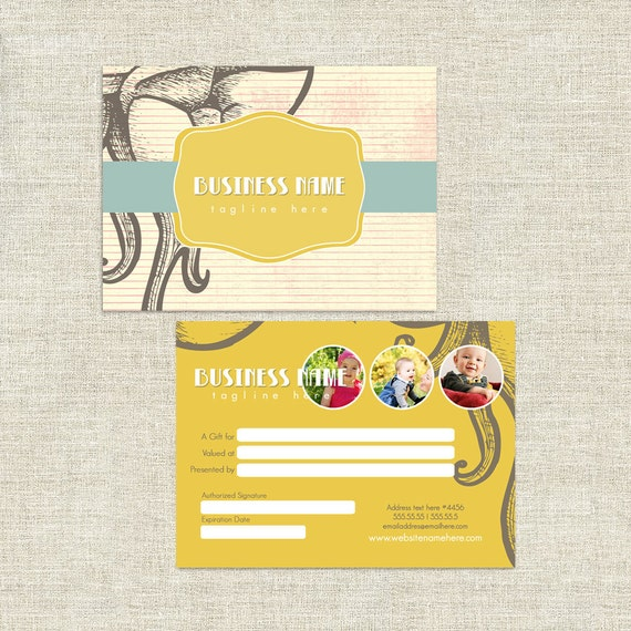 vivi double sided gift certificate