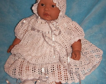 Shimmering Silver Heirloom Christening Blessing Gown Outfit Set