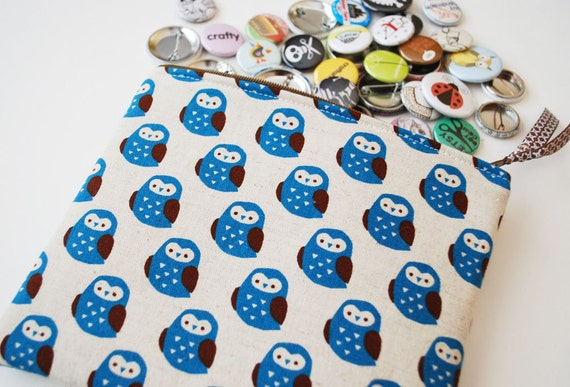 Medium Cotton and Linen Blend Fabric Pouch - Blue and Brown Owls
