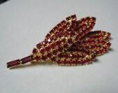 Vintage Brooch Ruby Red Rhinestone Leaves...SALE