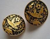 Vintage Earrings Damascene Spain Birds Clip