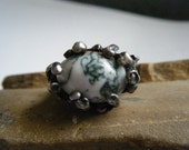 Chunky Ring Size 6 Silver Branches White Stone with Blue Inclusions...SALE
