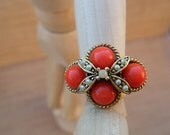 Vintage Ring Faux Coral Beads and Pearls