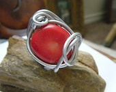Red Coral Wire Wrapped Ring Size 7