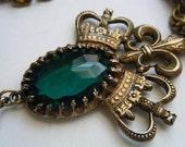 Reserved for Katya...Vintage Necklace Crowns Fleur De Lis Green Rhinestone Tassel