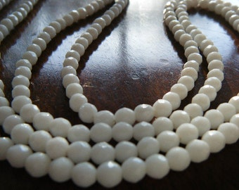 "White Glass Faceted Bead Necklace Dainty 52"" Long"