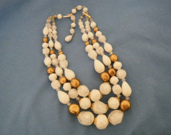 Triple Strand White and Gold Necklace WEST GERMANY