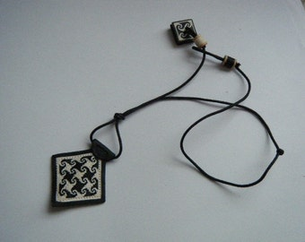 Leather Tribal Black and White Necklace