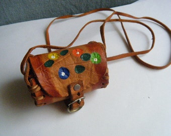 Vintage Necklace Leather Pouch with Buckle