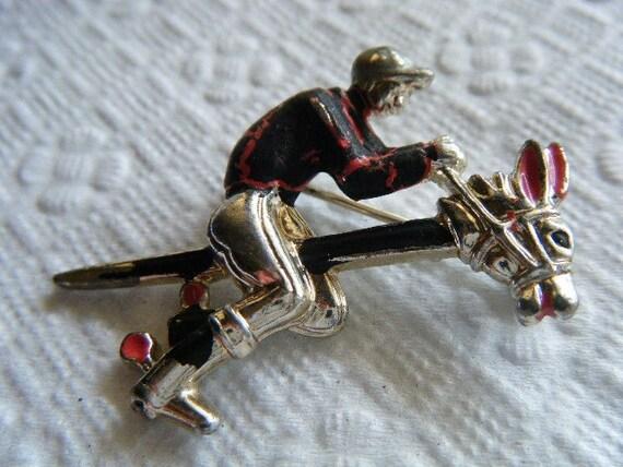 Vintage RARE Jockey Riding a Stick Horse Brooch/Pin...SALE