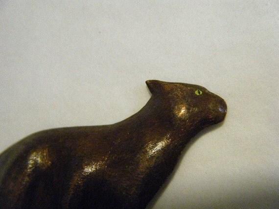 Vintage Funky Copper Cat Brooch