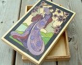 Geisha wood burned and painted box