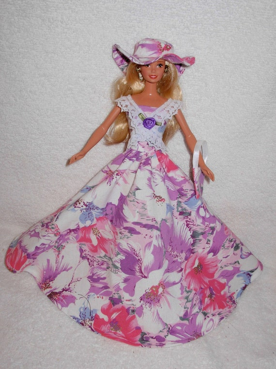 Beautiful floral gown with hat for barbie doll