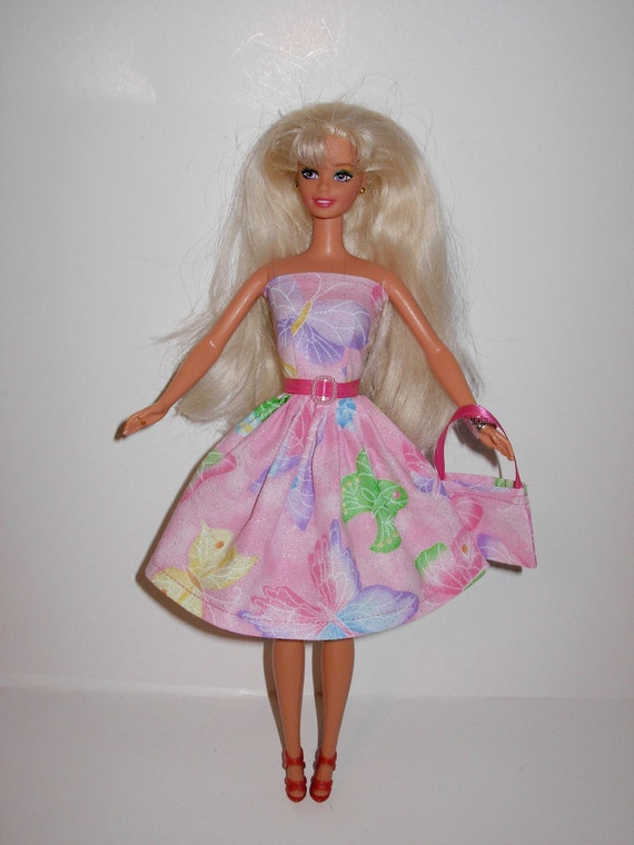 Cute butterflies dress and bag for barbie doll