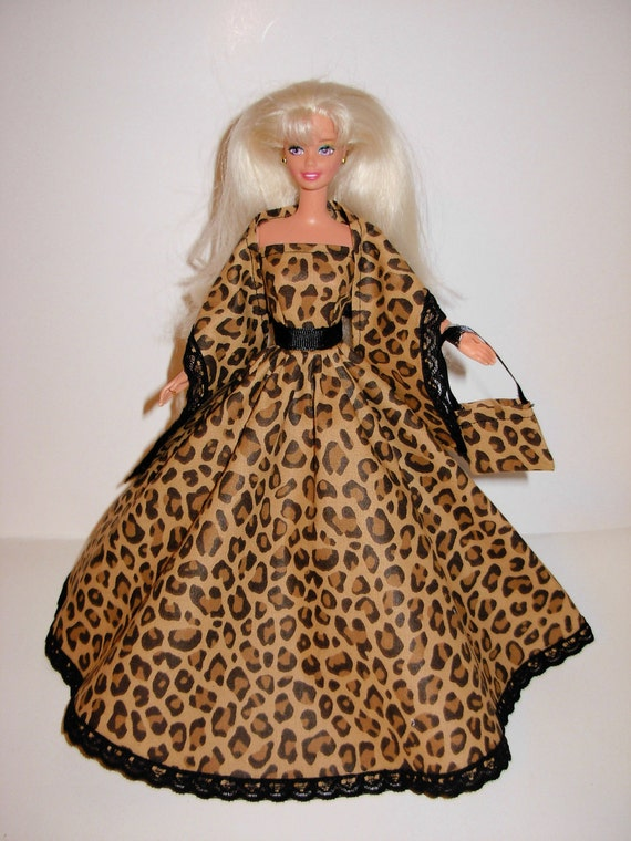 Cute jaguar print gown with stole and bag 4 barbie doll