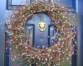 FREE SHIPPING-Christmas Wreath-Christmas Berry Wreath, Red, Green and White