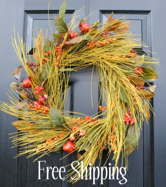 LAST CHANCE to purchase-Free Shipping-Fall wreaths autumn berries and leaves