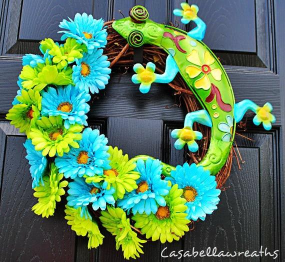 Door Wreath-Blue and Lime Green Lizard Wreath, Daisy Wreath, spring Wreath