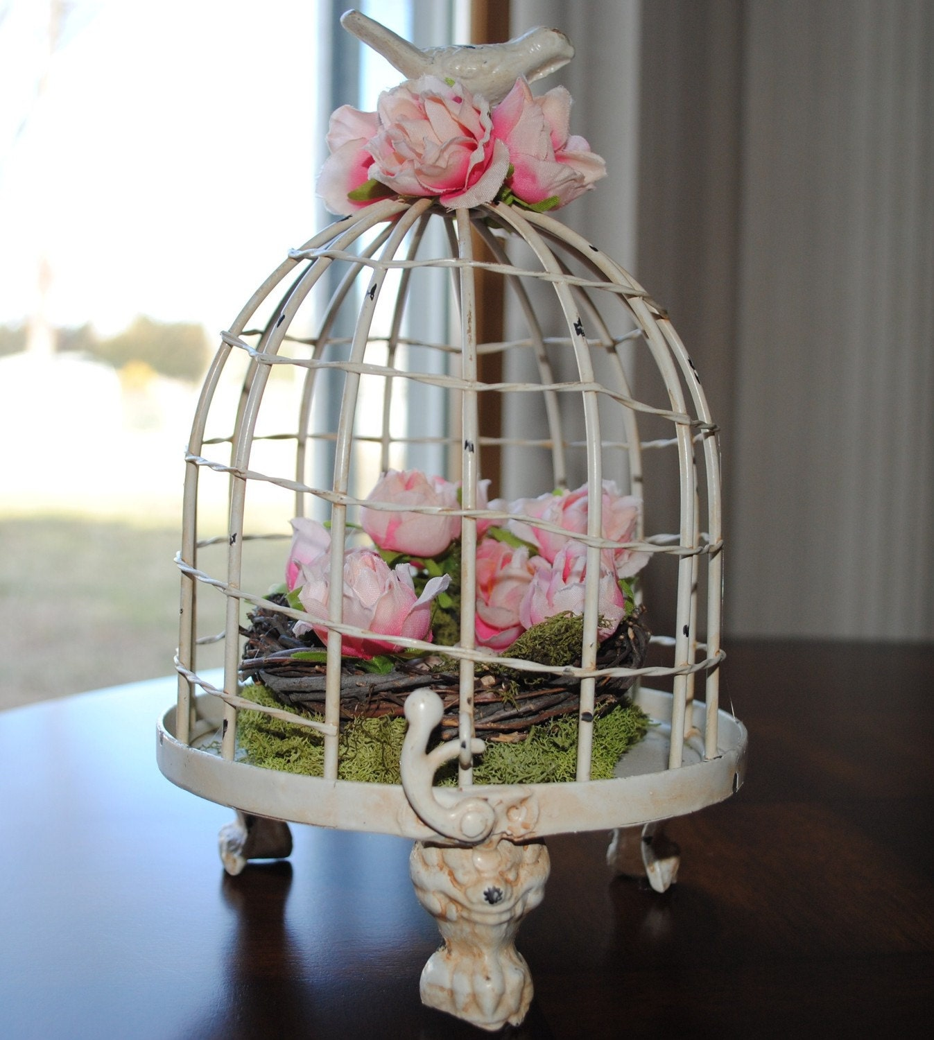 FREE SHIPPING Shabby Chic Style Bird Cage Floral Arrangement