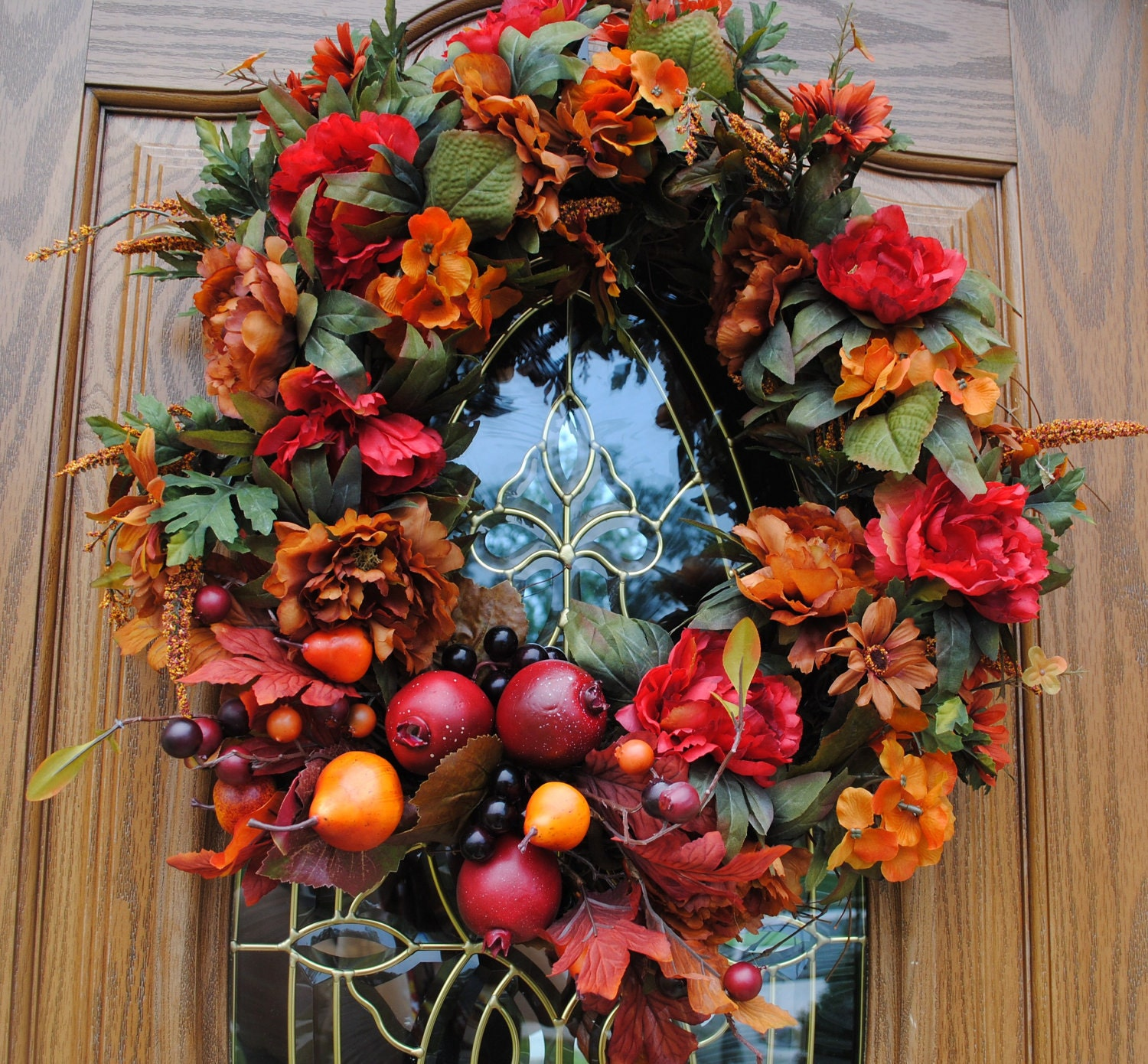 Fall wreaths autumn door wreath fruit wreath by Fall autumn door wreaths