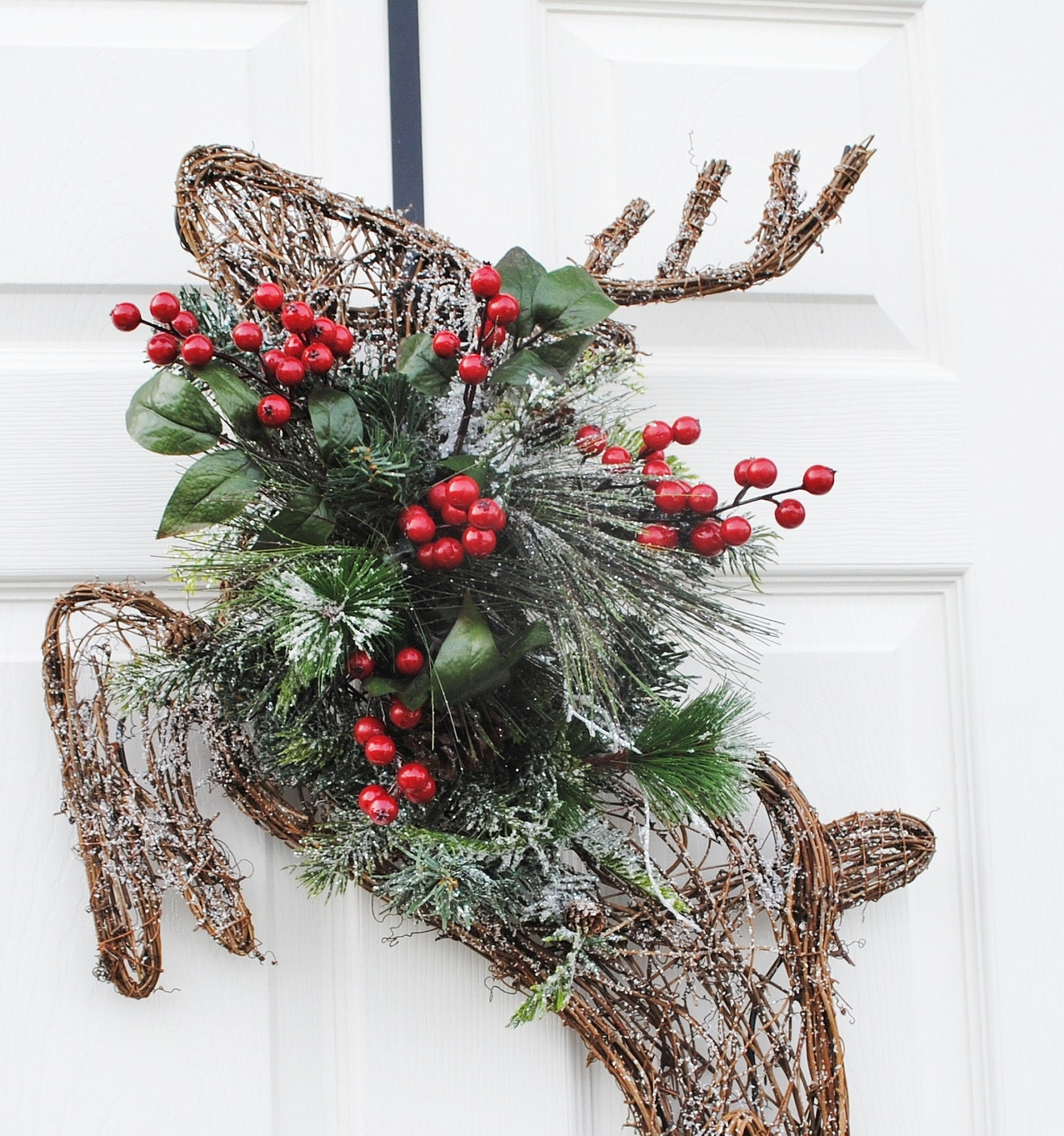 Christmas Wreath Grapevine Reindeer Wreath For By