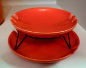 ON SALE - Vintage Orange Ashtrays or Dishes with Hair Pin Leg Stand - Stamped Stewart B. McCulloch California Pottery, RARE