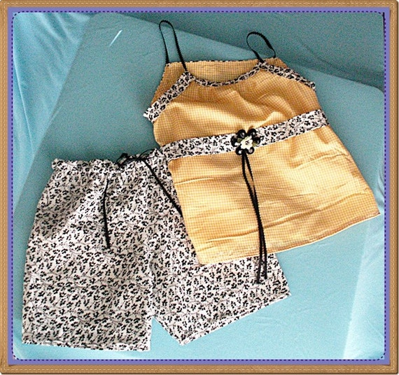 SALE Cute Summer outfit for girls size 7\/8\/9 Shorts and top. Yellow, black, and white. (Look for the matching American Girl and Only Hearts Club Doll Outfits too)
