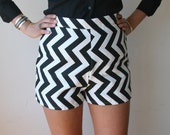 RESERVED High Waisted Shorts With Black Chevron Print Sz S 28
