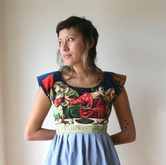 r e s e r v e d Last Supper Dress / Religious Tapestry Dress Sz XS S M L