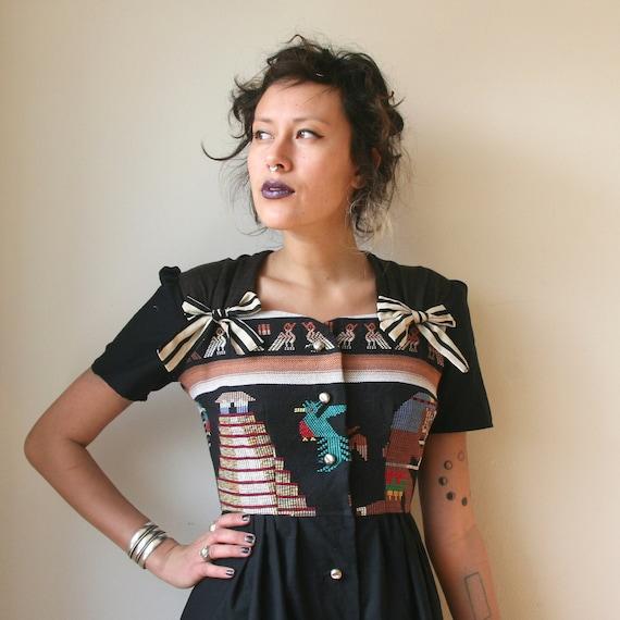 Guatemalan Black Button Up Mini Dress Sz XS / S Rusty Cuts