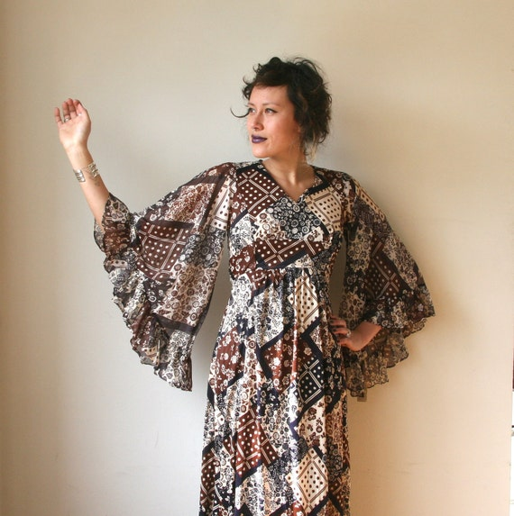 Vintage 70s Patchwork Angel Sleeves Maxi Dress Sz XS / S