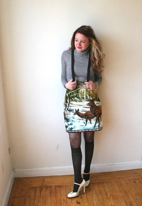 Velvet Deer Tapestry Pencil Skirt With Brass Zipper Sz XS / S Rusty Cuts