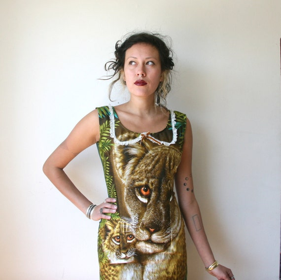 Mountain Lion Forest Green Mini Dress Sz XS Rusty Cuts