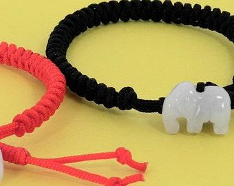 Jade Elephant Good Luck Red String Bracelet Set