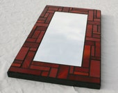 "7"" x 12"" Red Stained Glass Mosaic Mirror"