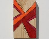 """Small Art Panel on Pine - Woodburned Design Colored with Prismacolor Pencil - 3"""" x 5.5"""""""