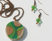 Woodburned Cedar Pendant Colored with Prismacolor Pencils and Matching Earrings, Shades of Green
