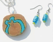 Summer Beach Jewelry Set: Woodburned Cedar Pendant with Matching Earrings, Turquoise and Lime Green