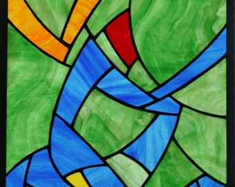 """Awakening: Colorful Stained Glass Window Panel - 12.75"""" x 16.75"""""""