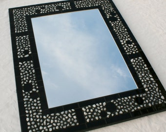 """16"""" x 20"""" Stained Glass Mosaic Mirror Featuring White Glass Pebbles"""