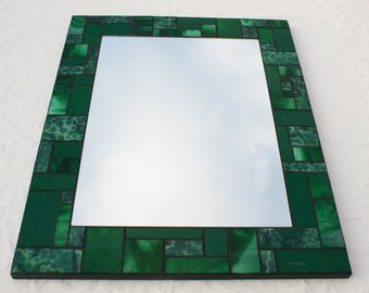 "16"" x 20"" Green Mosaic Mirror made with Bullseye and Kokomo Glass"