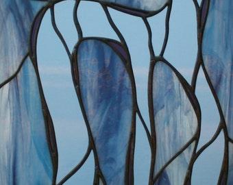 "Rabbit, Run: Original Stained Glass Panel, Lavender, Lilac, Light Blue, 12 1/8"" x 18.5"""
