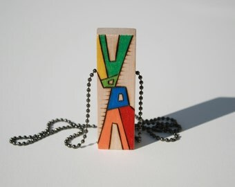 Unique Upcycled Wood Pendant - Colorful Abstract Design - Chunky - Woodburned Art - Modern Unisex Jewelry