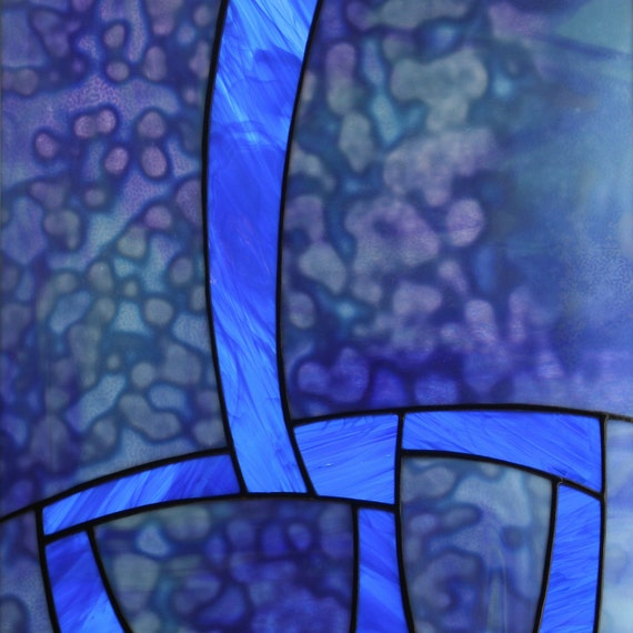 "9 Crimes: Blue Stained Glass Panel with Uroboros and Spectrum Glass, 16.5"" x 14.5"""