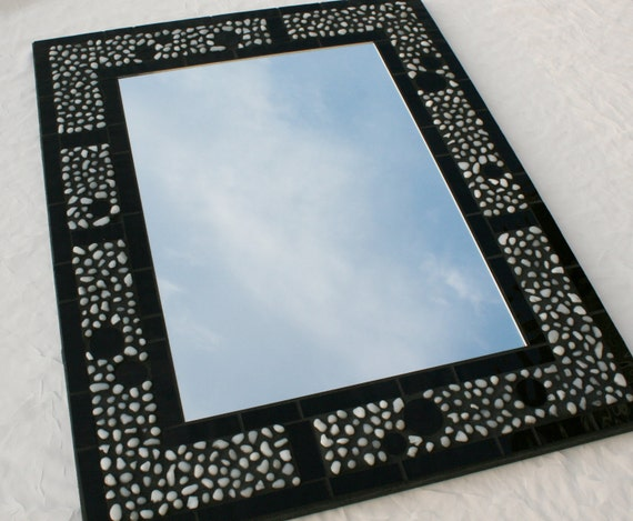"16"" x 20"" Stained Glass Mosaic Mirror Featuring White Glass Pebbles"
