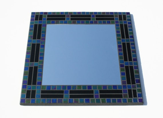 """SALE: Black Iridescent Stained Glass Mosaic Mirror, 18"""" x 18"""""""