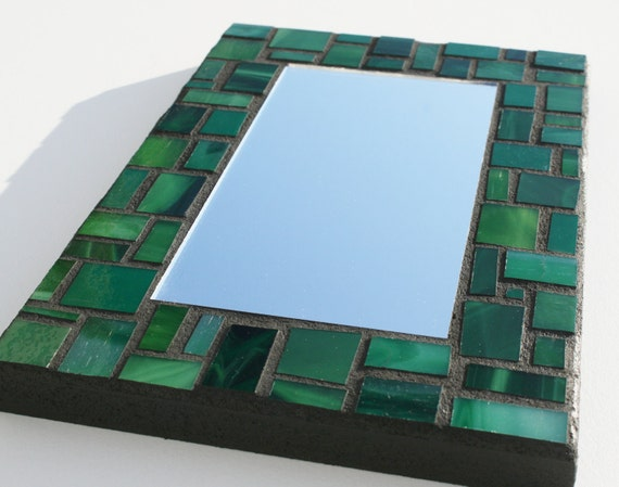 "Small Green Stained Glass Mosaic Mirror Made with Recycled Glass, 5.5"" x 8.25"""