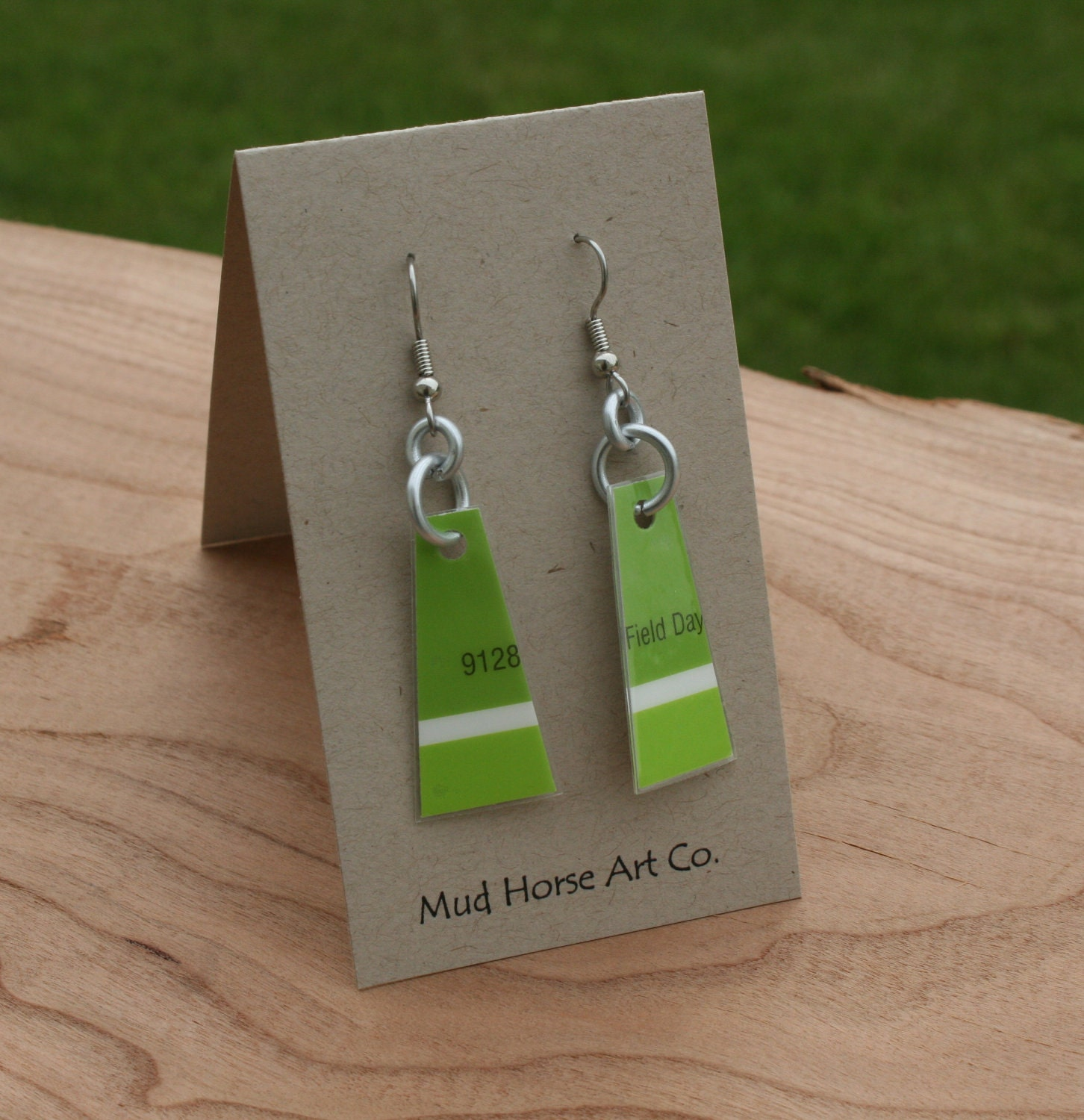 upcycled lime green paint chip earrings by mudhorseart on etsy. Black Bedroom Furniture Sets. Home Design Ideas